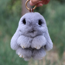 15cm Cute Real Rex Rabbit Fur Bag Backpack Pendant Mink Eyes Pluff Bunny Keychains Car Key Chain Decoration Pom Pom Keyring fashion really mink fur small rabbit pendant car key chain bag ornaments play dead rabbit type pet playmate mink fur accessories