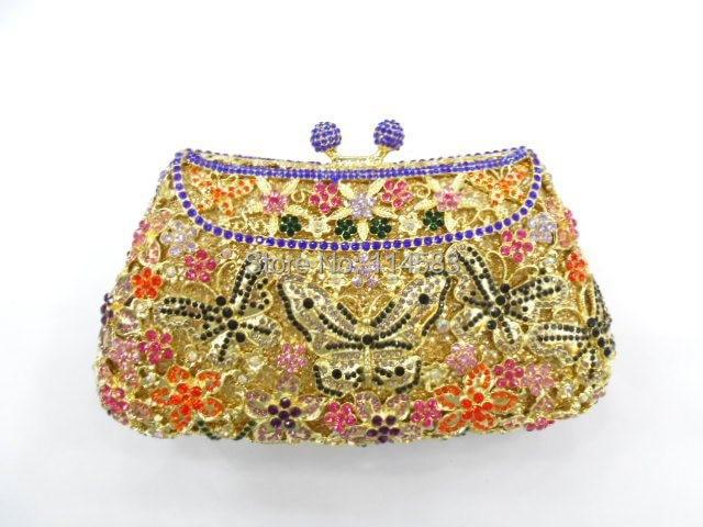 ФОТО 8249C Crystal BUTTERFLY Flower Floral Bridal Party hollow Metal Evening purse clutch bag handbag case