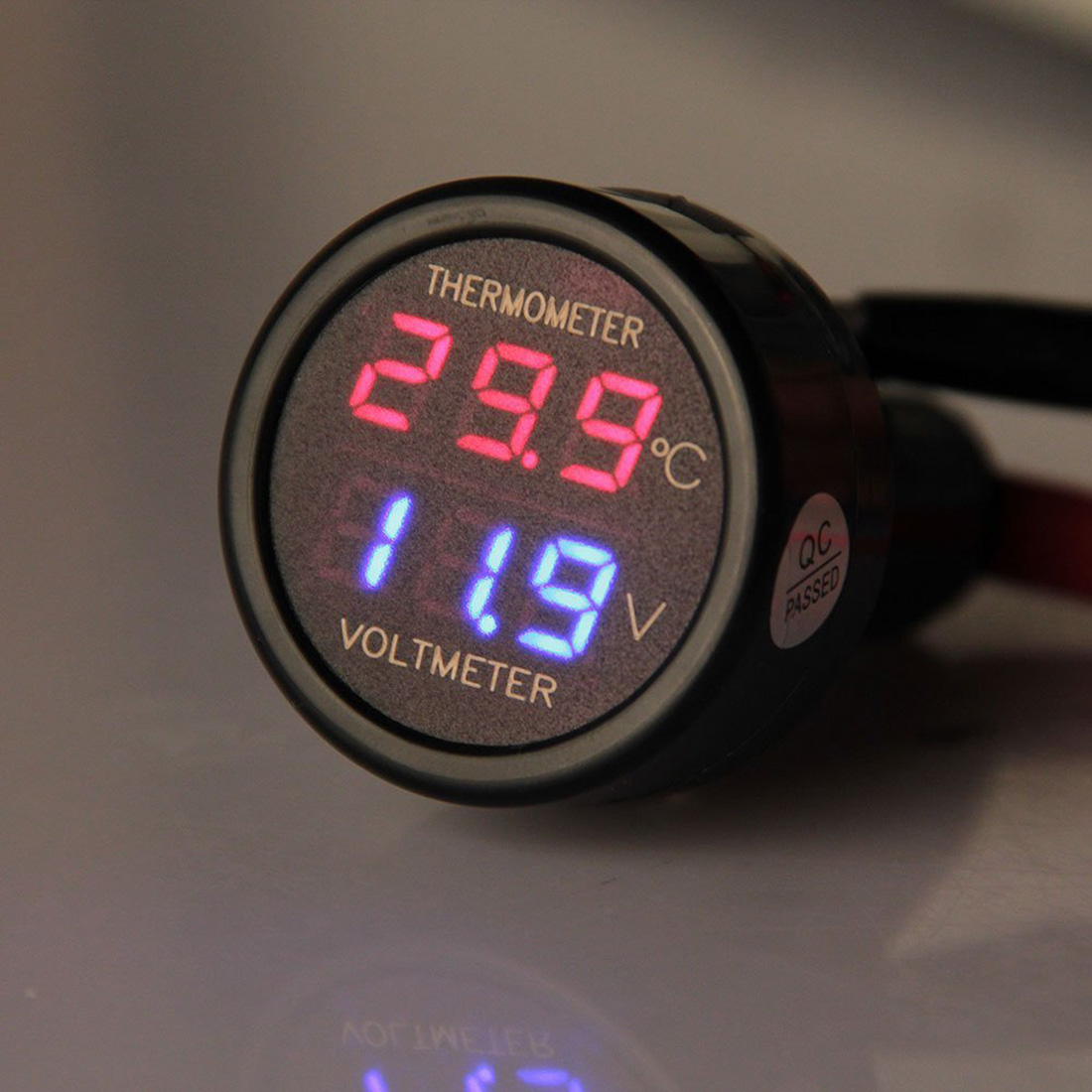 2 In 1 Red LED Car Cigarette Lighter Digital Voltmeter Thermometer Applies to 12/24V Universal Car SUV Truck Voltage Meter 3in1 car auto digital led thermometer usb charger cigarette voltmeter 12v 24v 3color g205m best quality