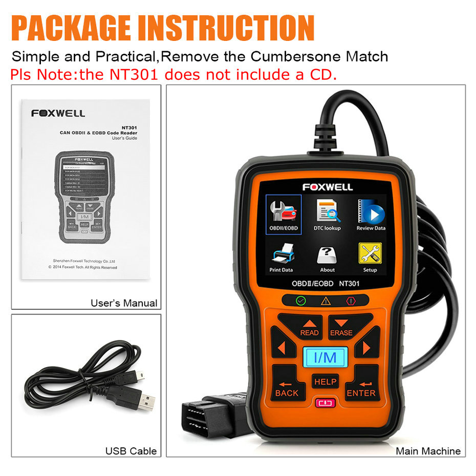 Image 5 - FOXWELL NT301 OBD2 Scanner Professional EOBD OBDII Code Reader Engine Check ODB2 OBD 2 Automotive Scanner Car Diagnostic Tool-in Code Readers & Scan Tools from Automobiles & Motorcycles