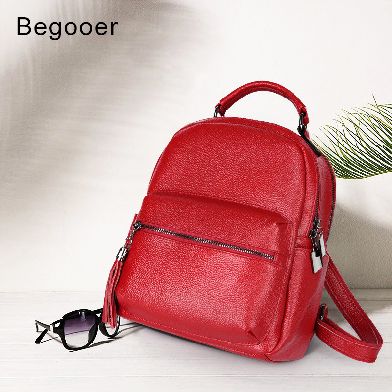 Fashion Genuine Leather Women's Backpack 100% Cow Leather Ladies School Bag Small Travel Backpack Mini Shoulder Bag for Women women genuine real cow leather backpack school book bag shoulder purse casual fashion lady laptop double zip compartment small