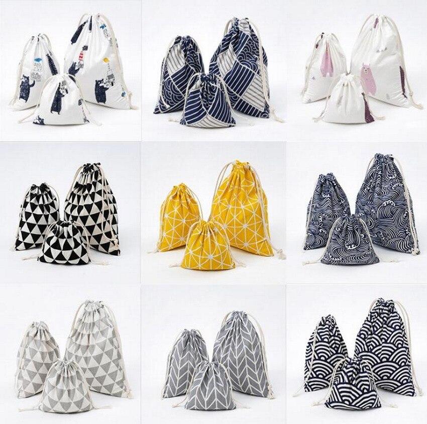 LIXUN 3PCs/Set Women Drawstring Bags Christmas Candy Bags Canvas Printing Travel Storage Bags School Bags For Girls Bolsa Female