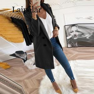 Image 4 - 2020 Womens Fashion Spring and Autumn Coat Jacket Everyday Elegant Mid Length Thin Woolen Coat