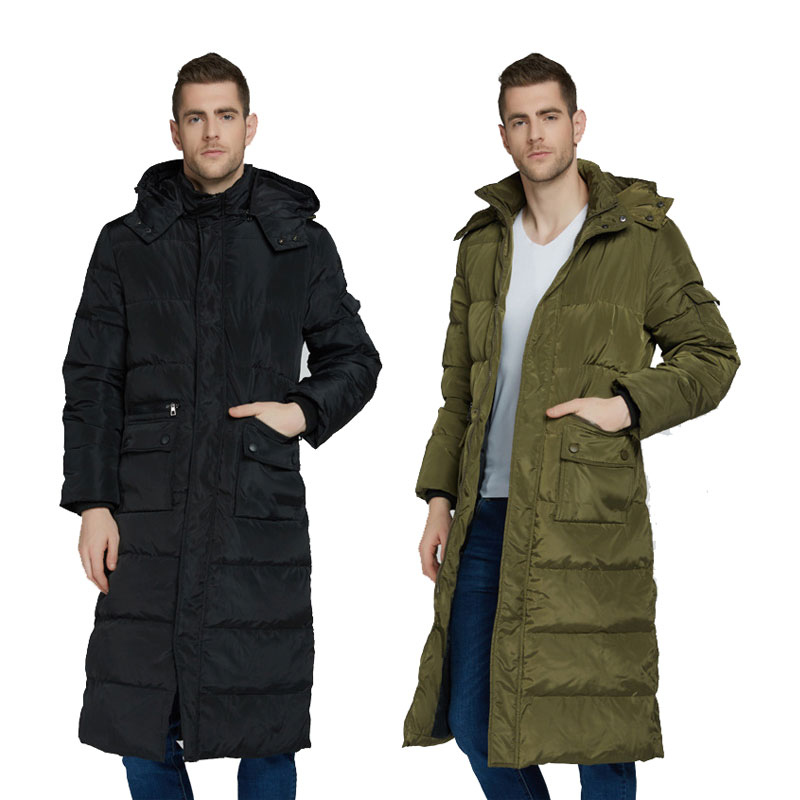2019 new Winter jacket Men's long Over the Knee Hooded thick section Warm Hooded park jacket Detachable collar Cold Coat