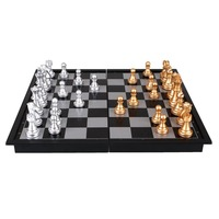 8 Inch Plastic Chess Set Silver Gold Mini Foldable Board Game Chess Piece Party Classic Checkers
