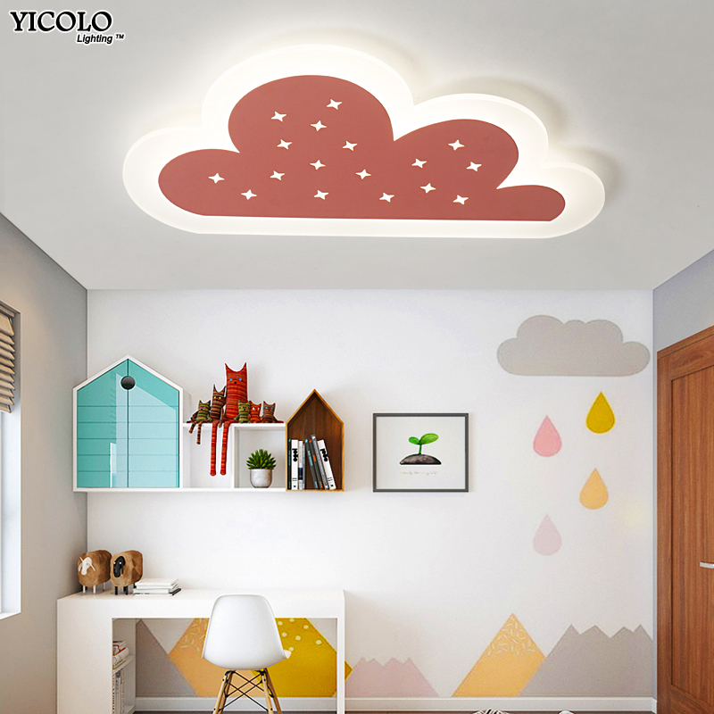 Dimmer Led Ceiling lights lamp in colorful cloud shape For kids room baby room deckenleuchten Modern home Decorative Lampshade