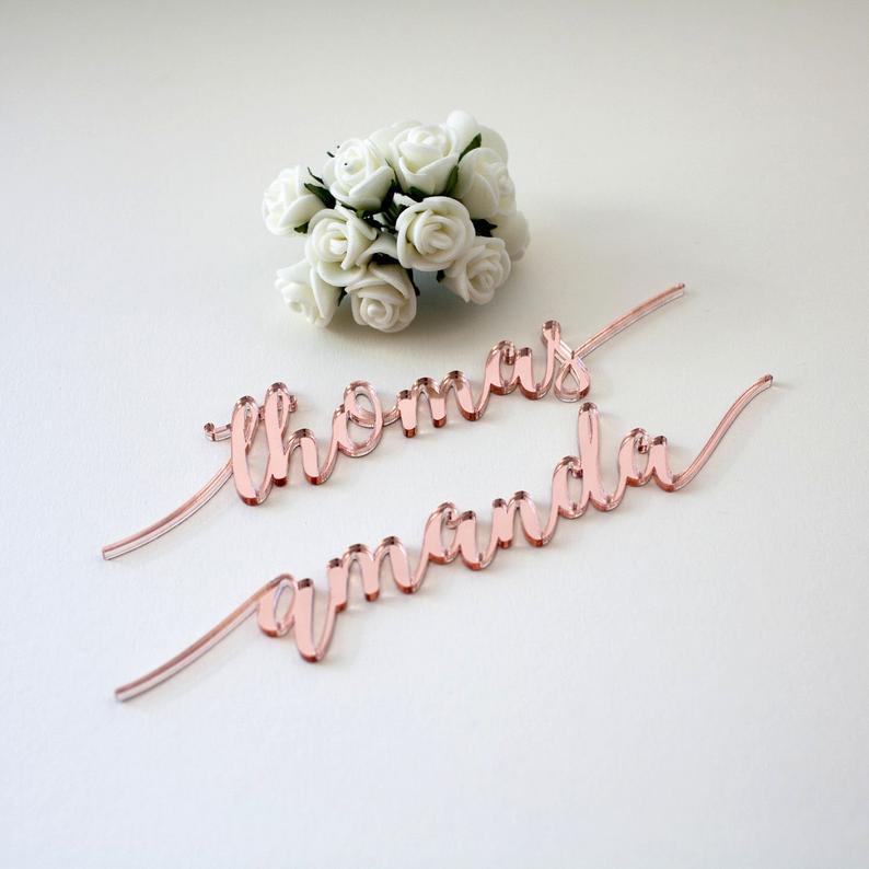 Rose Gold Mirror Acrylic Personalized Wedding Laser Cut