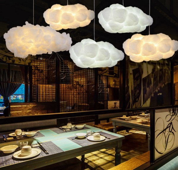 Floating White Cloud Chandelier Decorative Clouds Light Hotel Lobby Silk Art Creative Chandelier Hotel Engineering Light clouds without rain