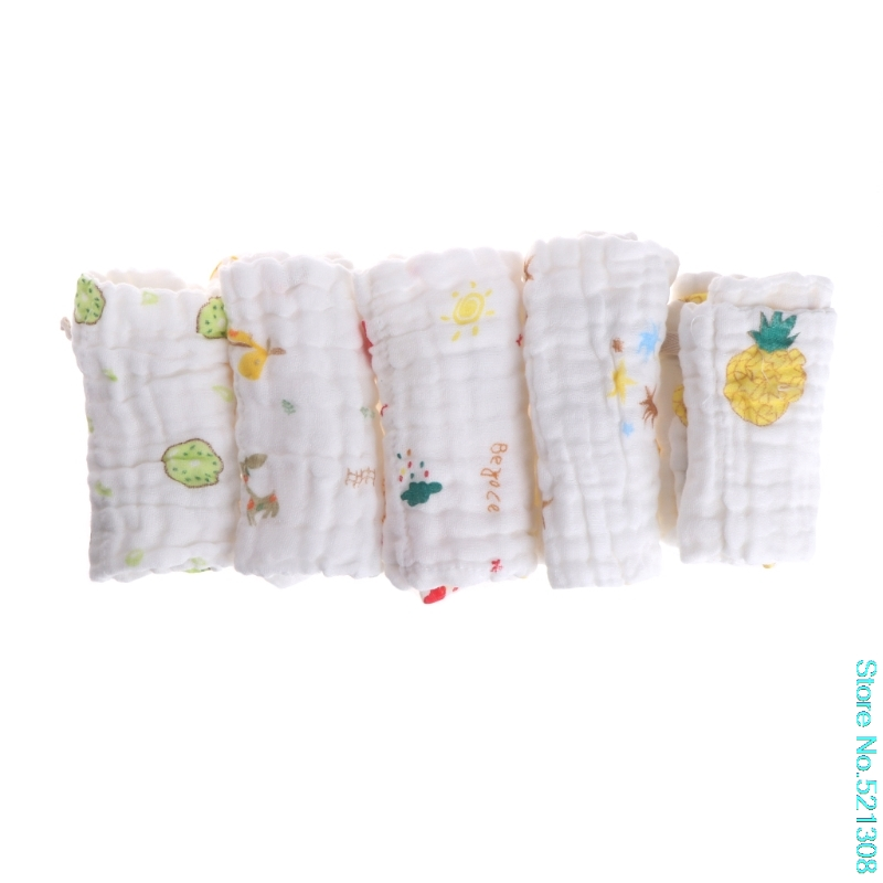5pcs/lot Baby Handkerchief Square Towel Muslin Cotton Infant Face Towel Wipe Cloth