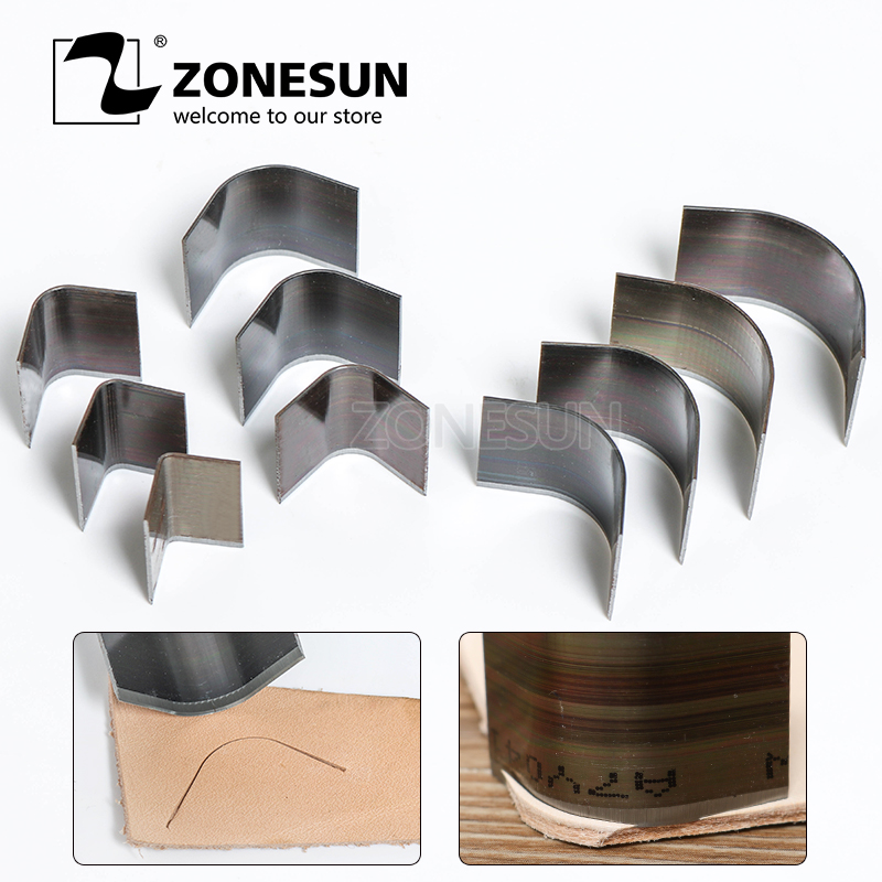 ZONESUN 10pcs/lot Leather Wallet Bag Corner Round Punching Tool Handmade Belt Round Cut Sets DIY Leather  Braclect Corner Punch