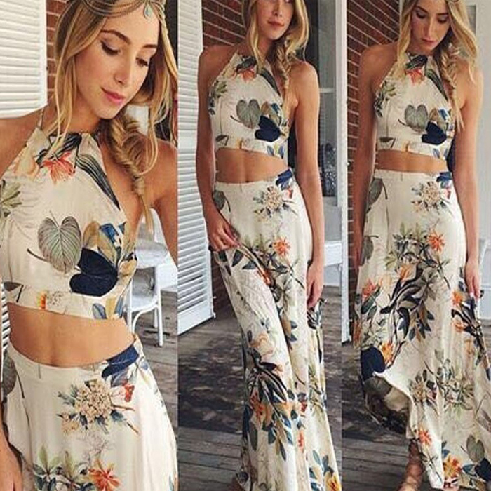 39cc1dcec275b strapless hawaiian dress print sexy two 2 piece set bandage summer beach  long dresses for women 2015-in Dresses from Women's Clothing on  Aliexpress.com ...