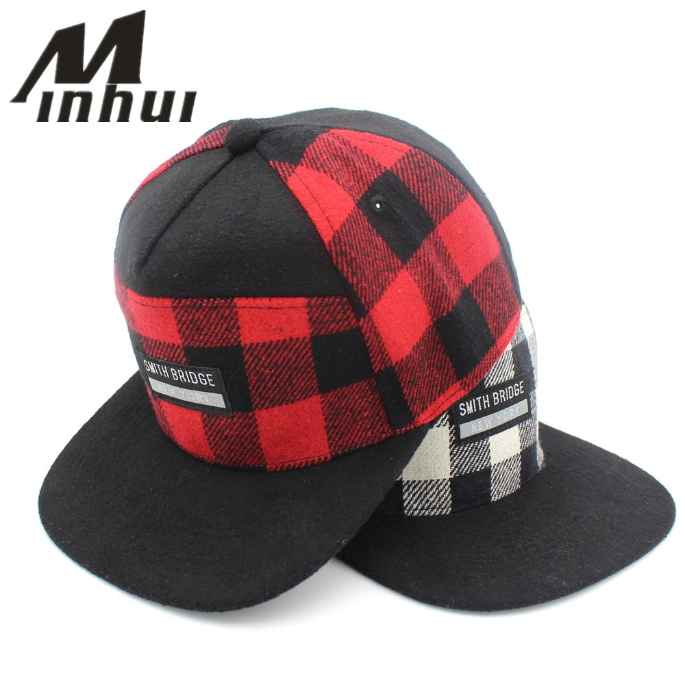 Minhui Plaid Snapback Men Women Czapki z daszkiem Casquette Letters Gorras Planas Flat Hat for Men