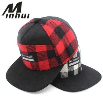 Minhui Plaid Snapback hombres mujeres Gorras de béisbol casquetas letras  Gorras Planas sombrero plano para hombres ad9ac8ca90f