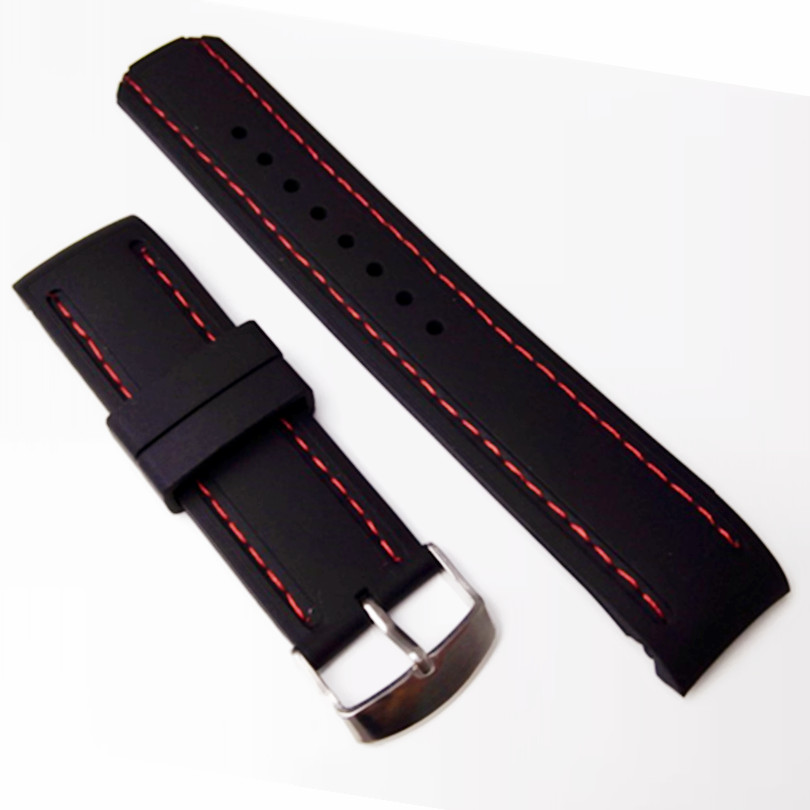 New 22mm Soft Rubber Radian / Arc Degree Strap Watch Parts Watch Band Watchband Pin Buckle Wrist Watch Accessories + Tool