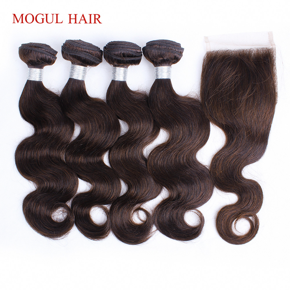 MOGUL HAIR 3/4 Bundles with Closure Color 2 Dark Brown Body Wave Bundles Indian Body Wave Non Remy Human Hair Extensions