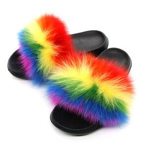 Image 1 - Pantoufles en fourrure de renard pour femmes, tongs, fourrure plate, tongs, chaussures de luxe de marque, 2019