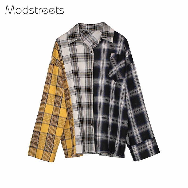 13c0016faf ... Modstreets 2019 camisa de primavera de las mujeres camisa a cuadros de  manga larga de algodón ...