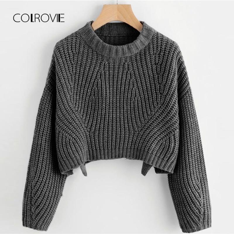 COLROVIE Split Solid Korean Elegant Crop Grey Sweater Women Tops 2018 Fashion Pullover Long Sleeve Winter Jumper Ladies Sweaters