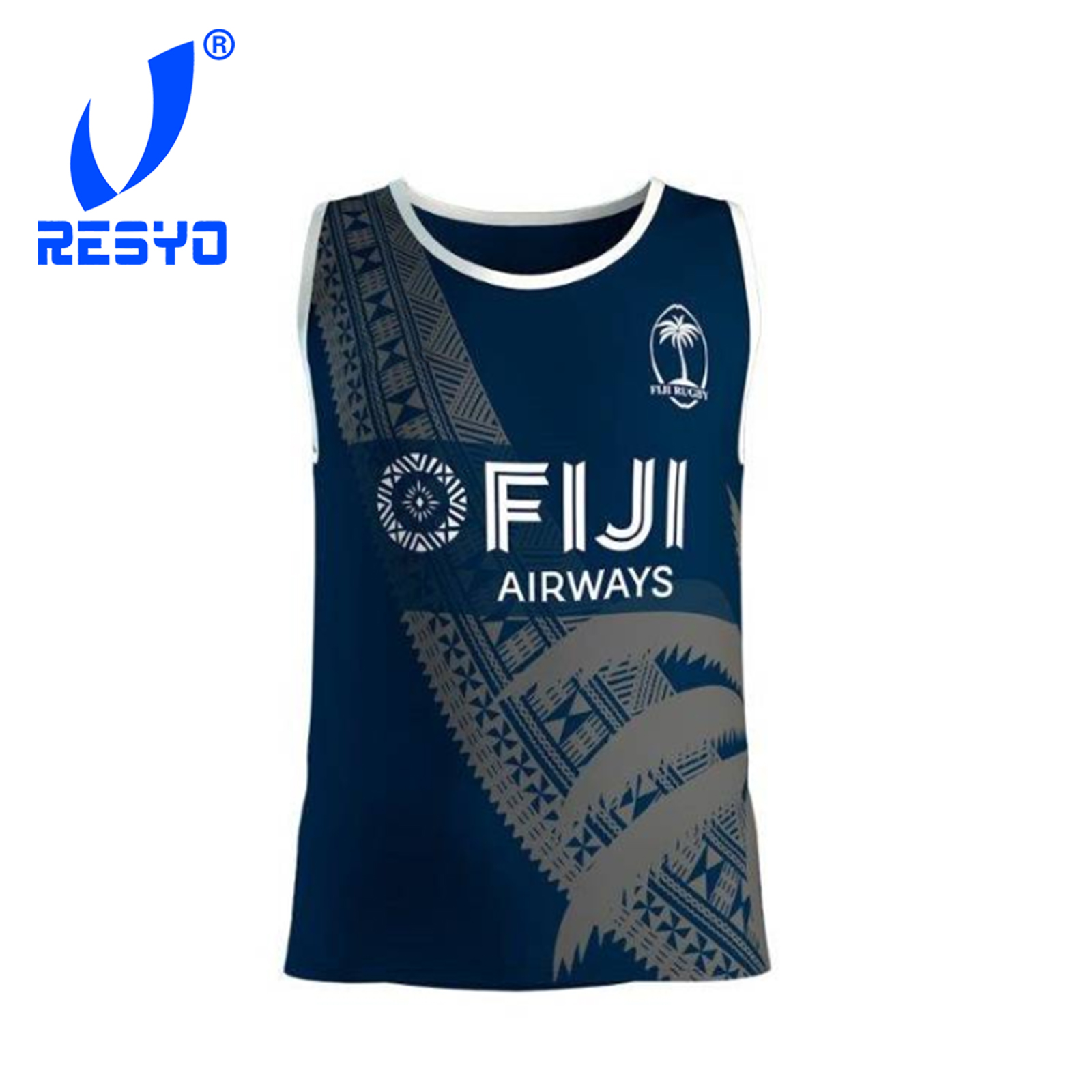 RESYO For 2019 FIJI Island MEN RUGBY Vest Traning Sport Singlet Size:S-3XL Free Shipping