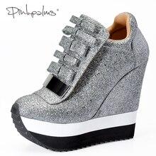 Купить с кэшбэком Pink Palms Shoes Women Height Increase Shoes Women Autumn Winter Pumps High Heels Trending Caramel Unique Design Sneakers