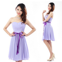 free shpping 2015 purple belt tube top chiffon short pageant dresses plus size evening dresses sleeveless bridemaid dresses