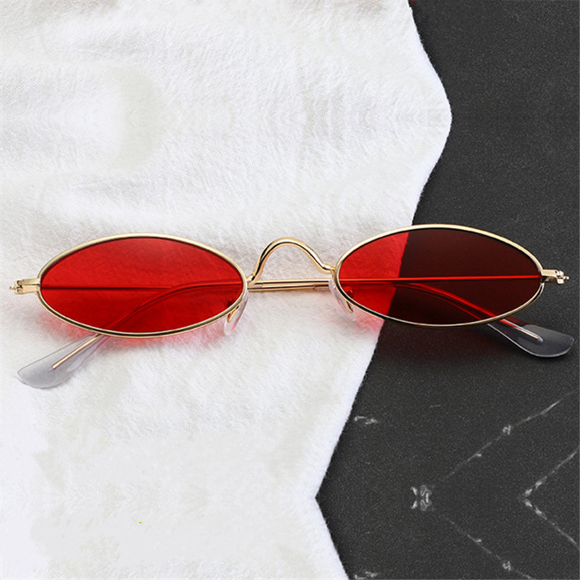 NYWOOH Red Oval Sunglasses Men Women Luxury Brand Designer Vintage Sun Glasses  Female Male Metal Small Round Eyewear