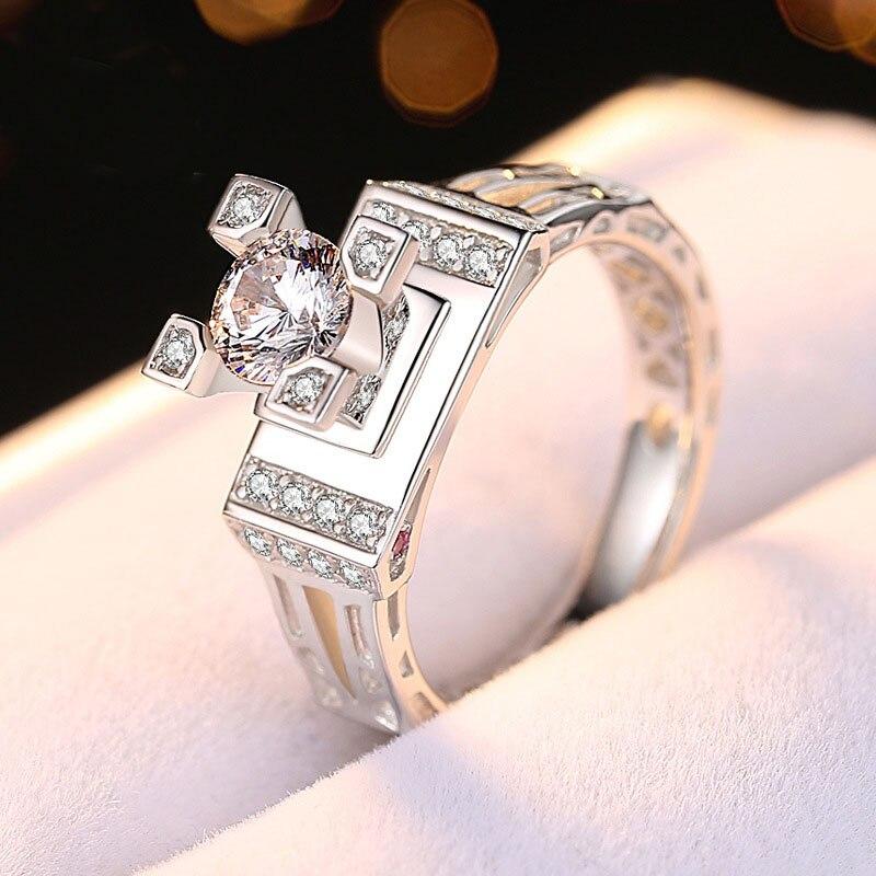 Bijoux en argent 925 véritable 16 cœurs et flèches bague coupée chic zircon cubique brillant paramètres de broche bague de fiançailles pour amoureux