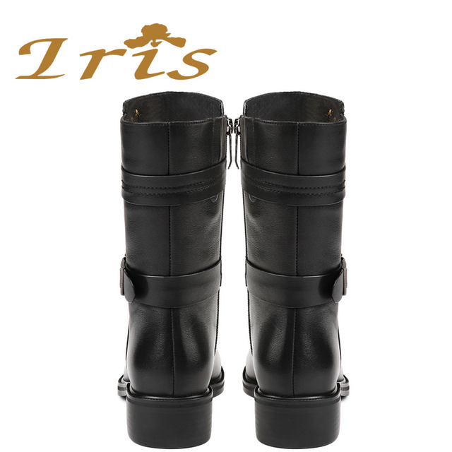 IRIS Mid Calf Boots Women Black Genuine Leather Round Toe Flat Heels Motocyle Boots Hademade High Quality Short Boots 2017 New 5
