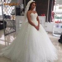 White Ivory Ball Gown Wedding Dresses 3D Floral Appliques Women Princess Weddingdress Tulle Lace 2019 Bride Bridal Gown