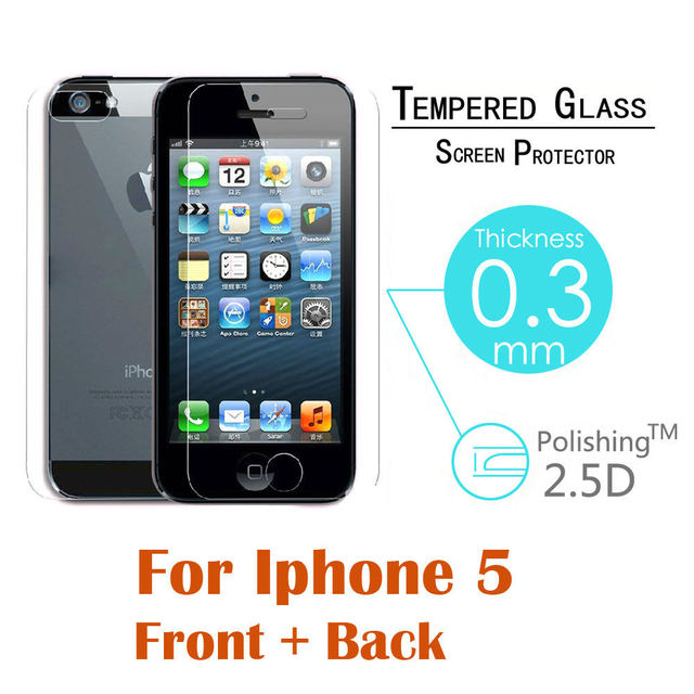 Front + Back Tempered Glass For iPhone 4 4s 5 5s 5c SE 6 6s 6plus 6splus Rear Screen Protector Anti Shatter Film Free Shiping