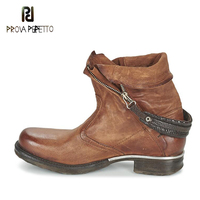 Prova Perfetto Motorcycle Boots For Female Back Buckle Do Old Leather Retro Short Boots Autumn Winter