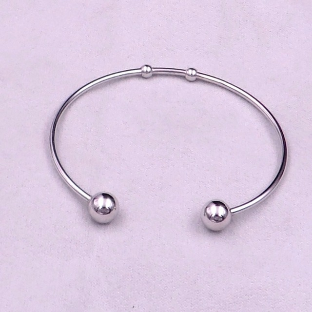 Gnayy Jewelry 100pcs Lot Stainelss Steel Simple Cuff Bangle Ball End