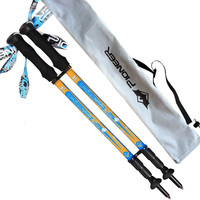 Hot Selling 2015 Super Short 55cm 3 Sections Lightweight 170g EVA Handle Retractable Nordic Walking Sticks