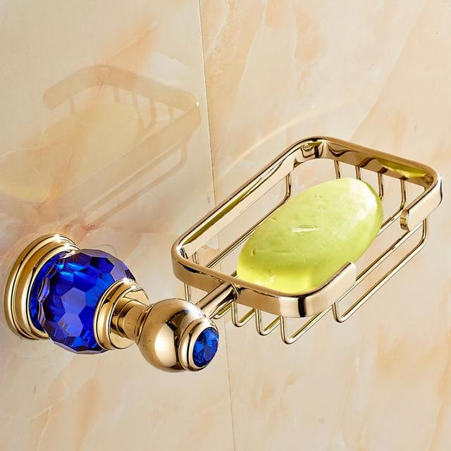 European Gold Bathroom Soap Holder Luxury High Quality Retro Sapphire  Copper Soap Dish Wall Mounted Bathroom