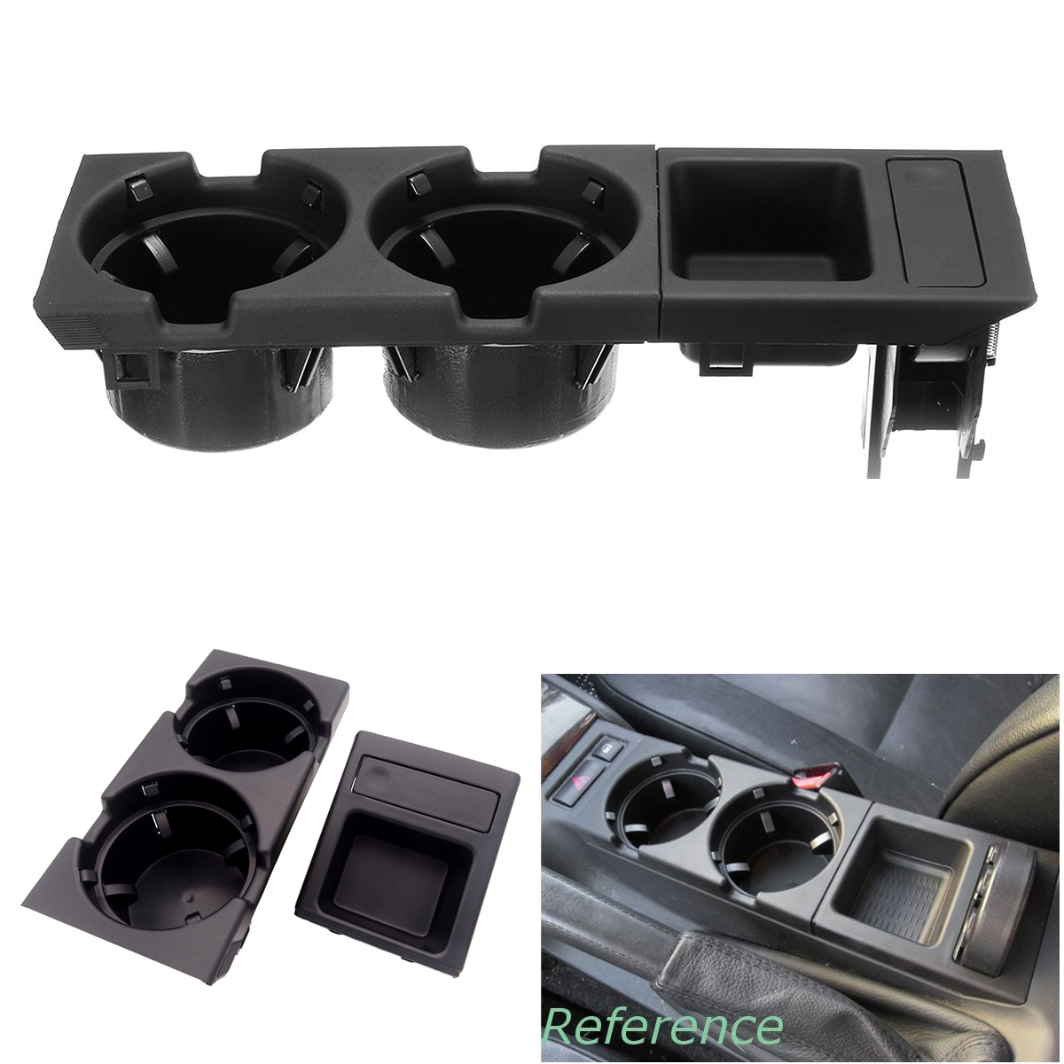 For BMW E46 3SERIES 1999-2006 Black Double Hole Car Vehicle Front Center Console Storage Box Coin + Cup Drink Holder 51168217957