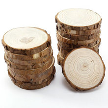 5pcs Unfinished Natural Round Wood Slices Circles With Tree Bark Log Discs For DIY Crafts Wedding Party Painting Decoration(China)