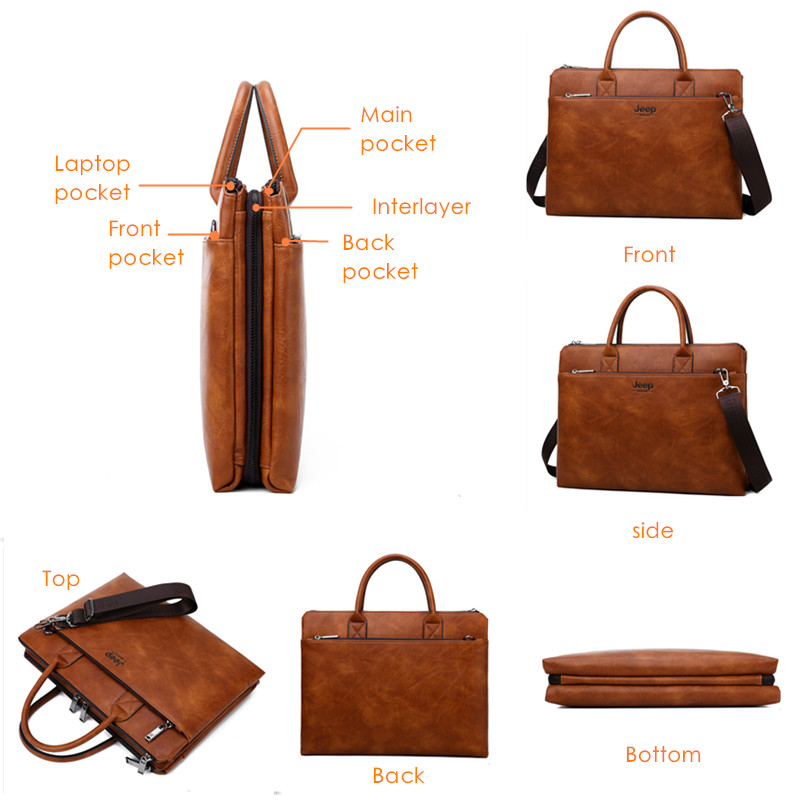 JEEP BULUO Brand High Quality 14 inch Laptop Business Bags Men Briefcases Set For Handbags Leather JEEP BULUO Brand High Quality 14 inch Laptop Business Bags Men Briefcases Set For Handbags Leather Office Large Capacity Bags