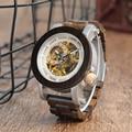 BOBO BIRD Мужские автоматические механические часы  классический стиль  Роскошные Аналоговые наручные часы  деревянные со сталью в подарочной ...