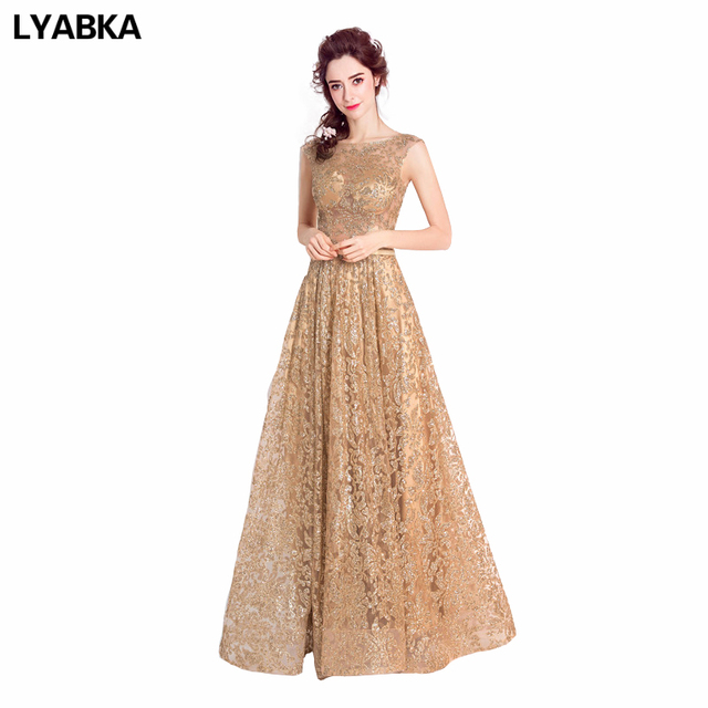 Evening Dress Hot Sale Dubai Gold Sequined Evening Dresses Arabic ...