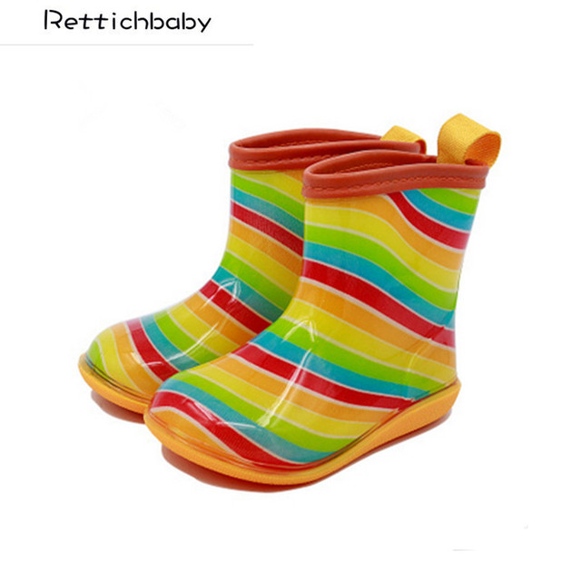new fashion baby boys and girls cute rain boots kids cartoon rubber