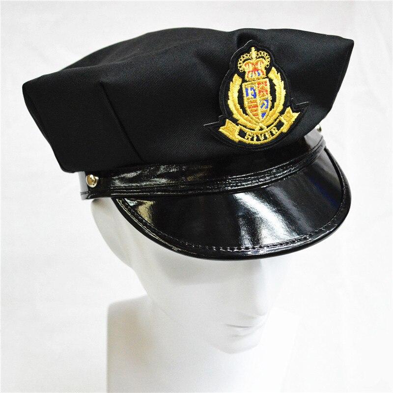 Costume Cappellino Police Cappello Performance Uniforme Nero - Costumi di carnevale