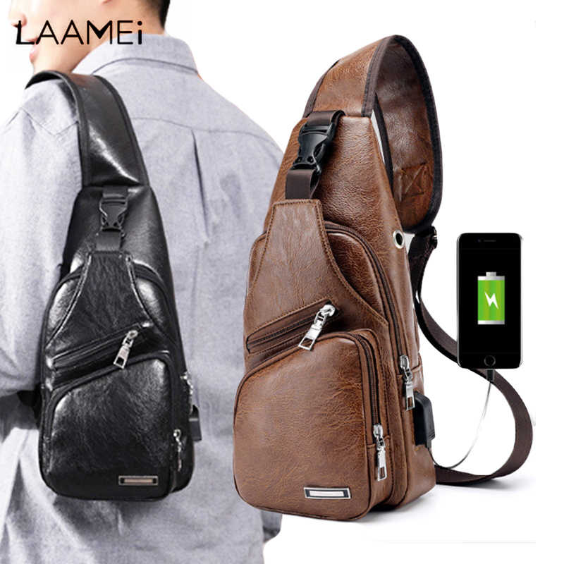 Laamei Crossbody Bags Men Zipper Solid Waist Bag  Leather Shoulder Bags Chest Bag USB With Hole Back Handbag Packs Purse