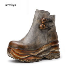 Artdiya Original Autumn Winter New Wedges Heels Thick Sole Womens Boots Genuine Leather Retro Increased Cowhide Ankle