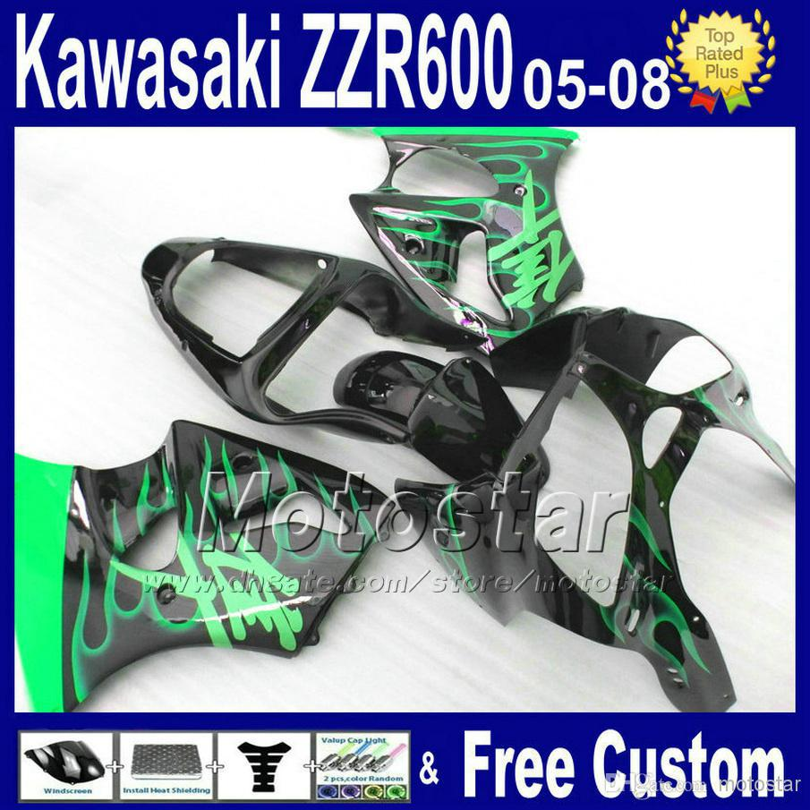 7 gifts motorcycle fairings set for 05-08 kawasaki 2005 2006 2007 2008 ZZR600 ABS green flame in black fairing kit ZZR 600 05 06 aftermarket free shipping motorcycle parts eliminator tidy tail for 2006 2007 2008 fz6 fazer 2007 2008b lack