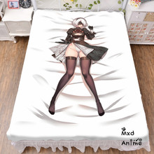 Japanese Anime Hot Game NieR Automata YoRHa 2B Bed sheet Throw Blanket Bedding Coverlet Cosplay Gifts Flat Sheet cd061