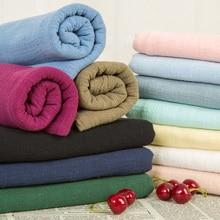 Soft wash Bamboo cotton cloth pure color summer thin imitation hemp gauze micro-transmittance