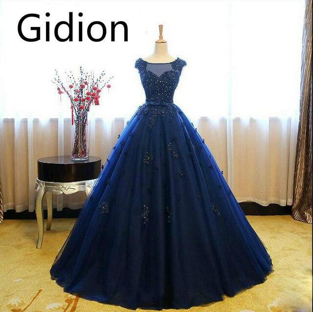 a7e7f3e7253 Robe De Soirée robe de bal bleu marine cap manches robe de bal dentelle  appliques perlée