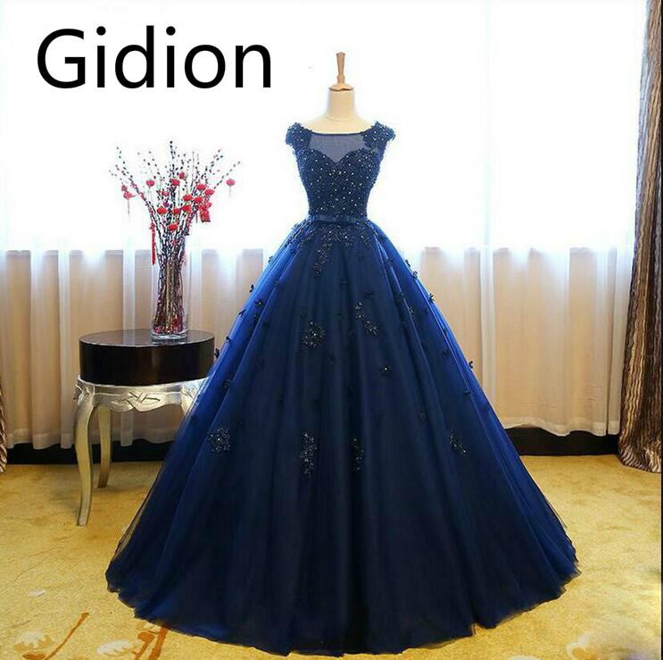 8a058e5bad38 Robe De Soiree ball gown navy blue cap sleeve prom dress lace appliques  beaded with flower hollow back sexy cheap prom gowns