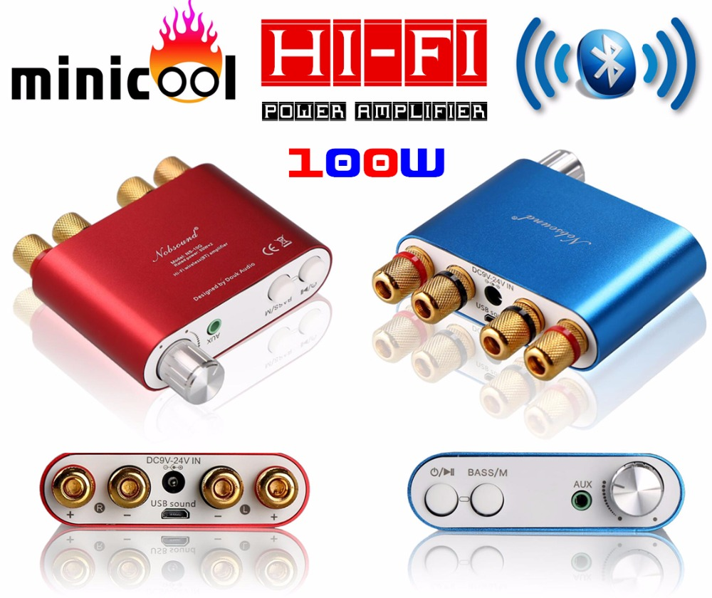 2017 New Nobsound NS-10G Mini TPA3116 Bluetooth 4.0 Digital Power Amplifier Stereo HiFi Amp Home Audio 50W*2 Red or Blue цена 2017