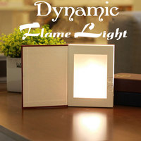 LED Flame Effect Night Light Creative LED Book Light Novelty Decorative USB Rechargeable Lamp For Reading